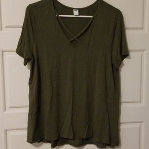Olive green strappy front tee